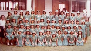 Can you see me in the third row of this sea of eager to please girl scouts?